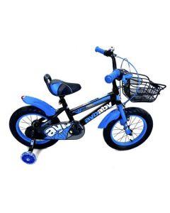 Bicicleta copii AyBaby, 14 inch, Negru-Albastru, Cadru otel, Roti ajutatoare silicon led, Cosulet, Portbagaj, Varsta 3-6 ani