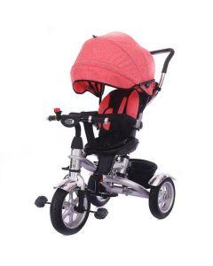Tricicleta multifunctionala pentru copii BabyKing, Gri/Roz, Roti cauciuc, Frana roti, Scaun rotativ, Suport picioare, Claxon