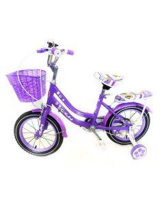 Bicicleta copii CFBIKE, 14 inch, Violet, Cadru otel, Roti ajutatoare , Cosulet, Portbagaj, Varsta 3-6 ani, Model Deosebit
