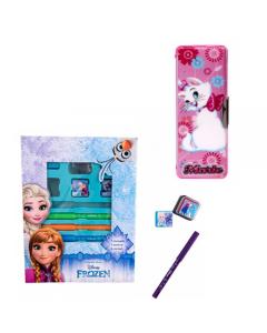 Set creativ cu stampile si carioci Frozen + Penar magnet Marie