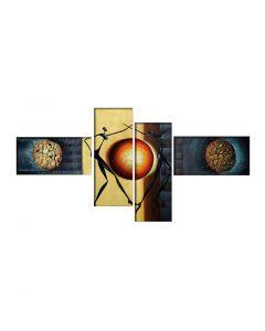 Tablou multicanvas crem/navy cu siluete abstracte 195x80cm VSR6807