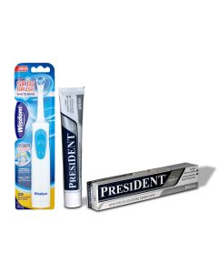 Periuta electrica Wisdom Spin Brush Whitenig efect albire Naturala a dintilor si pasta de dinti PresiDent White 50 ml
