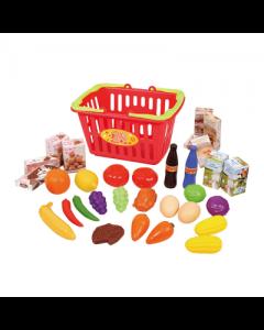 Cos de cumparaturi PlayGo cu alimente 32 piese