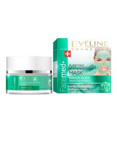 Masca purifiere si netezire Eveline Facemed Green Clay 50 ml