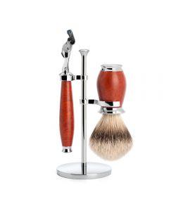 Set de barbierit cu aparat de ras compatibil Gillette Fusion si pamatuf Silvertip Badger cu par de bursuc si maner din lemn de briar S 091 H 59 F