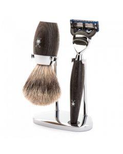 Set de barbierit cu aparat de ras compatibil Gillette Fusion si pamatuf Fine Badger cu par de bursuc si maner din lemn de stejar de mlastina S 281 H 873 F