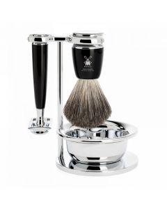 Set de barbierit, aparat ras clasic, pamatuf cu par bursuc, maner rasina S81M226SSR
