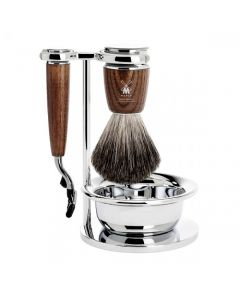 Set de barbierit: aparat ras Mach3,pamatuf par bursuc,maner lemn frasin S81H220SM3