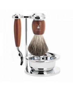 Set de barbierit: aparat ras Mach3,pamatuf par bursuc,maner lemn frasin  S81H331SM3