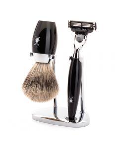 Set de barbierit cu aparat de ras Mach3 si pamatuf cu par de bursuc cu maner de rasina S281K876
