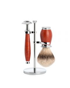 Set de barbierit cu aparat de ras clasic si pamatuf din par de bursuc cu maner din lemn briar S 091 H 59 SR