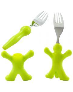 Set 2 furculite inox cu maner plastic si suport sustinere, 2x furculita camping / iarba verde, L 18 cm, verde