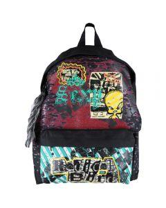 Rucsac copii, ghiozdan scoala, rock style, Tweety, Looney Tunes, 30 x 17 x 42 cm, negru-verde