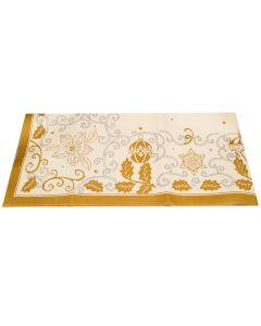 Napron pentru masa, traversa peste fata de masa, model globuri si flori, 84 x 84 cm, galben, Duni