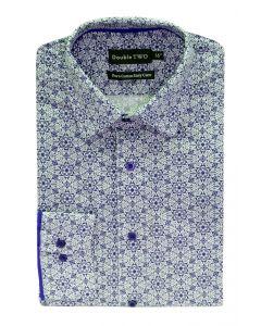 Camasa barbati clasica, Double Two-British Design, maneca lunga cu manseta nasturi/butoni, bumbac, camasa barbateasca regular fit, model flori, usor de calcat, alb-albastru, 40/41