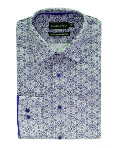 Camasa barbati clasica, Double Two-British Design, maneca lunga cu manseta nasturi/butoni, bumbac, camasa barbateasca regular fit, model flori, usor de calcat, alb-albastru, 43/44