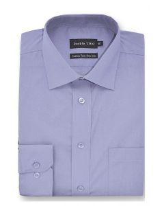 Camasa barbati clasica, Double Two-British Design, maneca lunga cu manseta nasturi/butoni, bumbac, camasa barbateasca regular fit, uni, usor de calcat, albastru petrol, 45