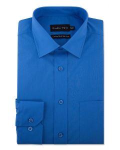 Camasa barbati clasica, Double Two-British Design, maneca lunga cu manseta nasturi/butoni, bumbac, camasa barbateasca regular fit, uni, usor de calcat, albastru royal, 46/47