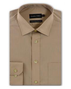 Camasa barbati clasica, Double Two-British Design, maneca lunga cu manseta nasturi/butoni, bumbac, camasa barbateasca regular fit, uni, usor de calcat, bej, 40/41