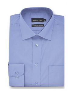 Camasa barbati clasica, Double Two-British Design, maneca lunga cu manseta nasturi/butoni, bumbac, camasa barbateasca regular fit, uni, usor de calcat, bleu, 43/44