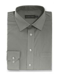 Camasa barbati clasica, Double Two-British Design, maneca lunga cu manseta nasturi/butoni, bumbac, camasa barbateasca regular fit, uni, usor de calcat, gri inchis, 42