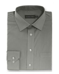 Camasa barbati clasica, Double Two-British Design, maneca lunga cu manseta nasturi/butoni, bumbac, camasa barbateasca regular fit, uni, usor de calcat, gri inchis, 49/50