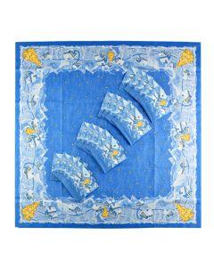 Set 10 naproane 84 x 84 cm + 10 pachete servetele 24 x 24 cm pentru masa festiva de Craciun, set pentru restaurante, model iarna, albastru, Duni