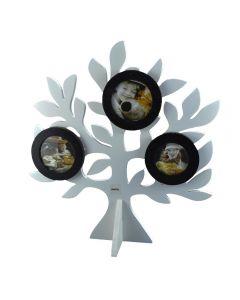 Rama foto din lemn, Gusta, multipla-3 fotografii, forma Copacul vietii, prindere magnet, 35 x 33 cm, alb-negru