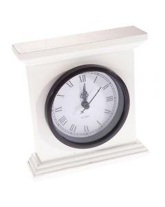 Ceas de masa/birou din lemn, cadran clasic, cifre romane, mecanism quartz, vintage/retro, alb-negru, Gusta