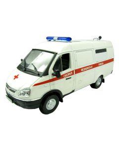 Macheta auto de colectie, Gaz-32214 Gazele, Minimodel autosanitara, metal-plastic,alb, Scara 1:43