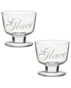 Set 2 cupe pentru inghetata, pahare sticla pentru servire, deserturi, 2 x pahar sticla pentru servire desert, 300 ml, Gusta, 9.5 x 8 cm