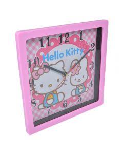 Ceas de perete patrat, rama roz, cadran roz-alb, model desene animate Hello Kitty, 1-36, Maxx