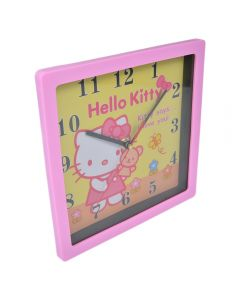 Ceas de perete patrat, Maxx, rama roz, cadran galben, model desene animate Hello Kitty, 21.5 x 21,5 cm, 1-36