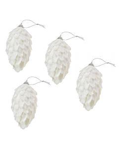 Globuri de Craciun, set de 4, forma de conuri de brad, Maxx, alb sclipitor, h 12 cm, Maxx