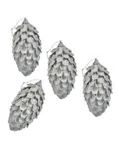 Globuri de Craciun, set de 4, forma de conuri de brad, Maxx, argintiu, h 12 cm, Maxx