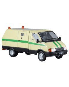 Macheta auto de colectie, GAZ-3302 Ratnik, Minimodel masina blindata banca, metal-plastic, crem, Scara 1:43
