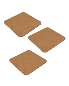 Set 3 suporturi pentru recipiente fierbinti, lemn de pluta, Maxx, 19 x 19 x 0.5 cm