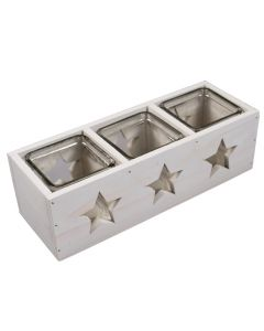 Set 3 pahare suport lumanari ambientale, in cutie de lemn, Gusta, 26.5 x 9.5 x 8 cm