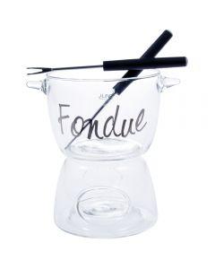 Set fondue + 2 furculite, aperitiv / desert pentru branza / ciocolata format din doua piese sticla, cu incalzire lumanare, set servire, h 14.5 cm, d 10 cm, J - Line