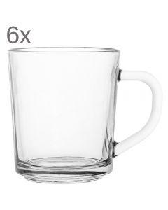 Cani sticla, set de 6, cu toarta, transparenta, 6 x cana servire bauturi calde si reci, 220 ml, cana clasica din sticla groasa rezistenta, Florentyna