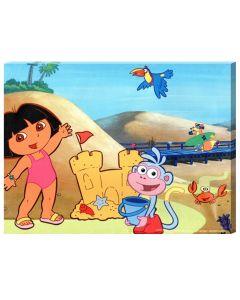 Tablou canvas decorativ pentru camera copii, desene animate Distractie la plaja cu Dora si Boots, 30 x 22 cm