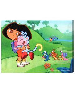 Tablou canvas decorativ pentru camera copii, desene animate Imbratisare cu Dora si Boots, 30 x 22 cm