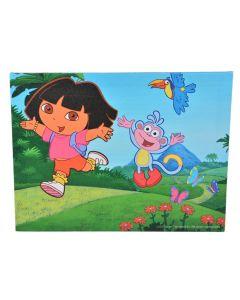 Tablou canvas decorativ pentru camera copii, desene animate, Saritura cu Dora si  Boots, 30 x 22 cm