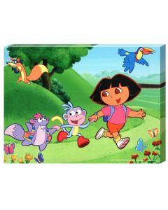 Tablou canvas decorativ pentru camera copii, desene animate, Plimbare cu Dora, Boots si Tico, 30 x 22 cm