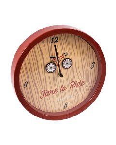 Ceas de perete rotund, Kikkerland, d 24.5 cm, ceas decorativ de perete, mesaj Time to Ride, rosu