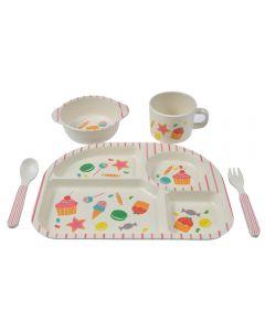 Set de masa pentru copii cu farfurie 4 compartimente, bol, cana, lingurita si furculita, vesela mancare din bambus pentru bebe, set hranire 5 piese, serviciu de masa copii, set mic dejun / pranz / cina copii, model dulciuri, Quasar, multicolor