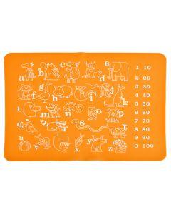 Suport farfurie educativ de invatare litere, cifre, animale, suport farfurie pentru copii din silicon, joc de invatare, atentie, napron cu litere diversificare bebe, cifre si animale pentru copii, napron copii, portocaliu 40 x 30 cm