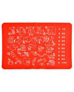 Suport farfurie educativ de invatare litere, cifre, animale, suport farfurie pentru copii din silicon, joc de invatare, atentie, napron cu litere diversificare bebe, cifre si animale pentru copii, napron copii, rosu 40 x 30 cm