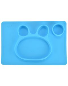 Farfurie compartimentata din silicon, 38 x 25 cm, bol de invatare / mancare din siliconforma iepuras, pentru copii, antiderapanta, bol de mancare compartimentat pentru diversificare, albastru, Ubbe