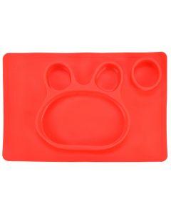 Farfurie compartimentata din silicon, 38 x 25 cm, bol de invatare / mancare din siliconforma iepuras, pentru copii, antiderapanta, bol de mancare compartimentat pentru diversificare, rosu, Ubbe
